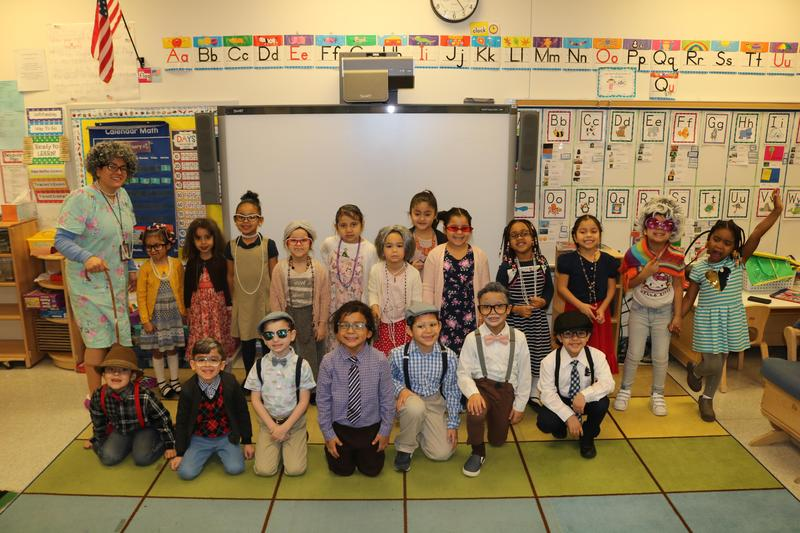Ms. Syvarth's class dressed as 100 year old people