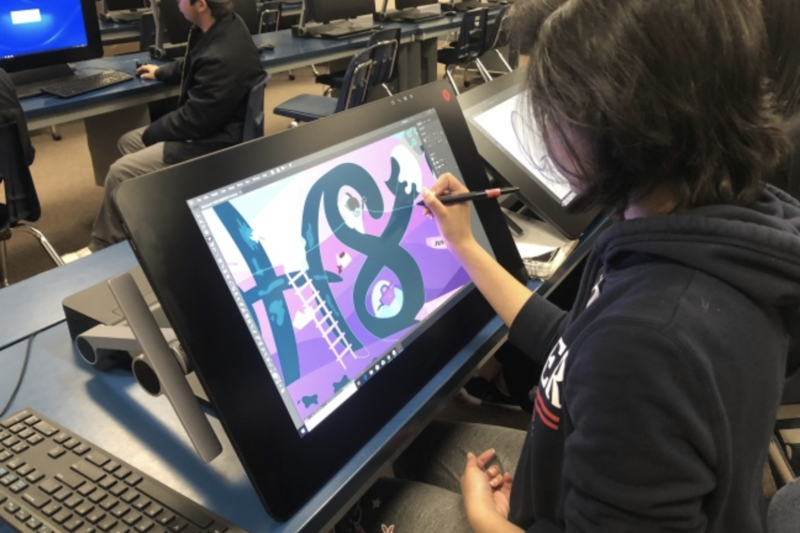 Student Using Advanced Digital Arts Software