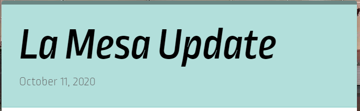 La Mesa Update for May 3rd Featured Photo