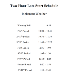 late start schedule for high school