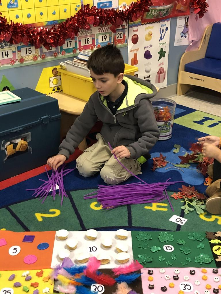 little boy counting purple pipe cleaners that he's piling up
