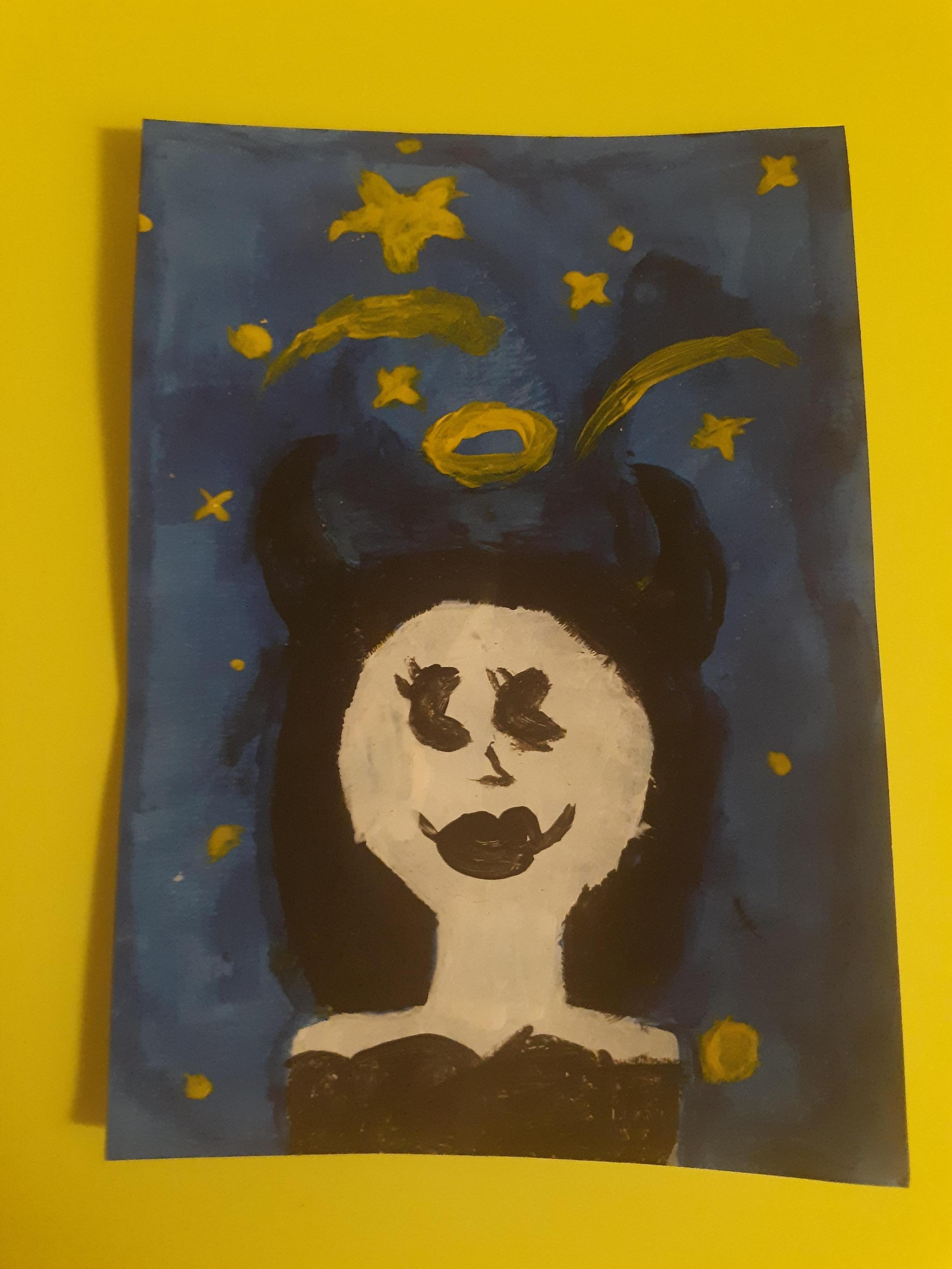 Alice Angel using acrylics by Lily Clark