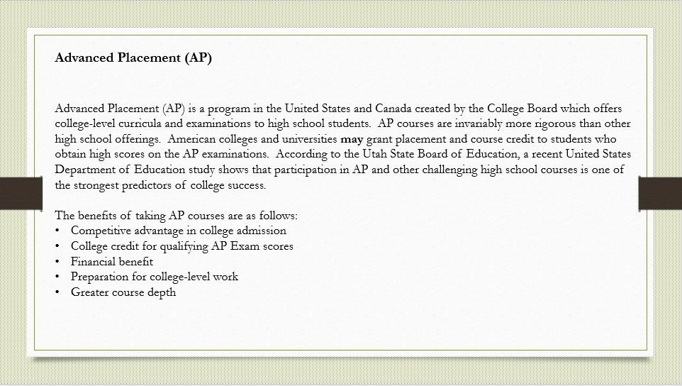 Advanced Placement Program Information