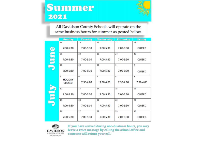 Summer hours calendar for 2021.