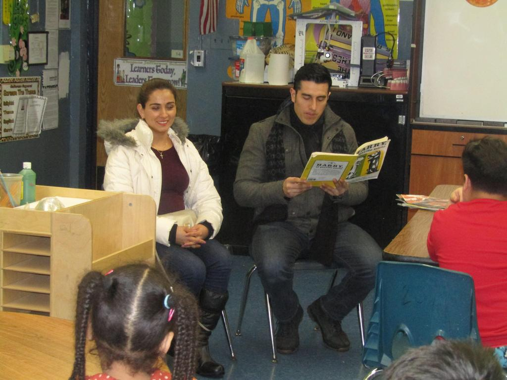 parents reading to their child's classmates