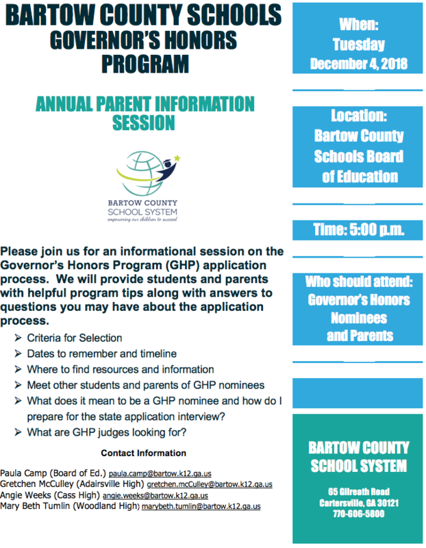 Governor's Honors Program Information Session flyer