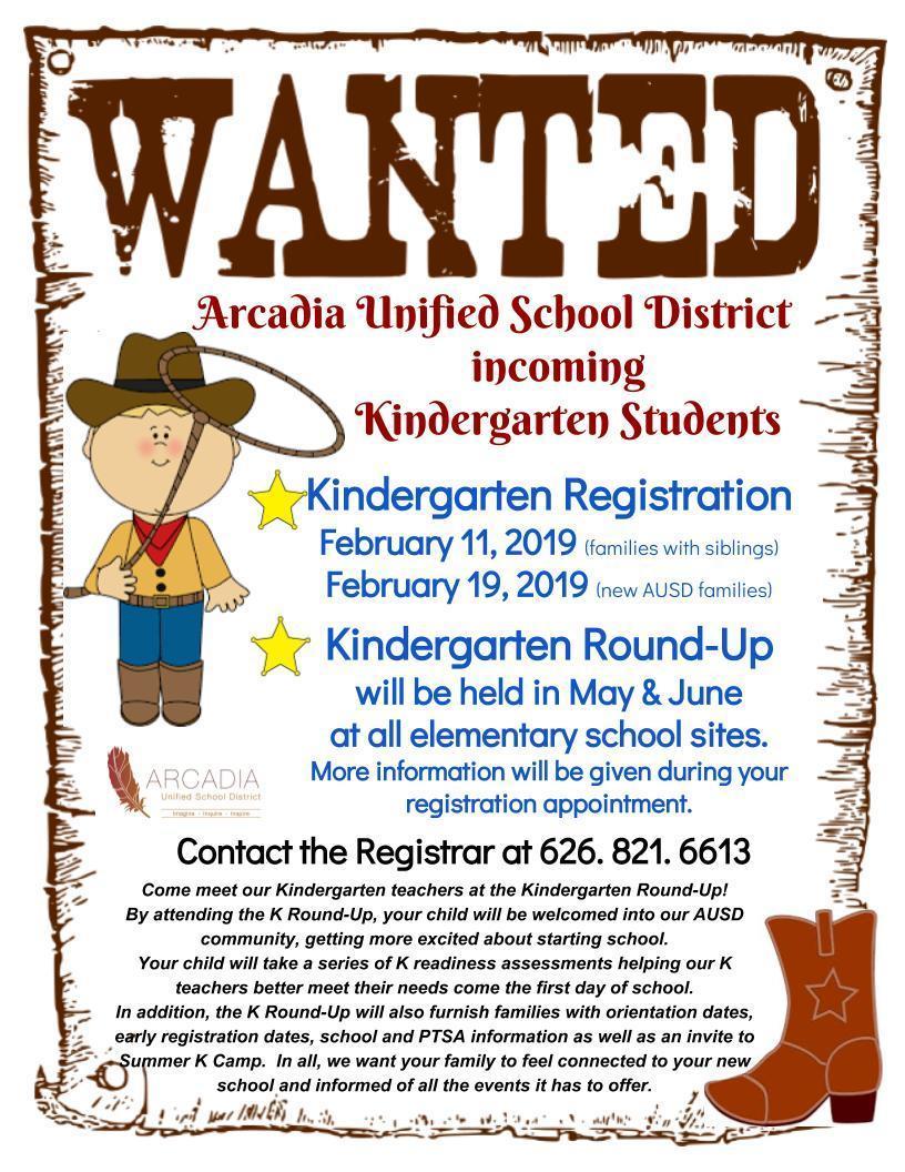 Arcadia Unified Kindergarten Round-up Flyer