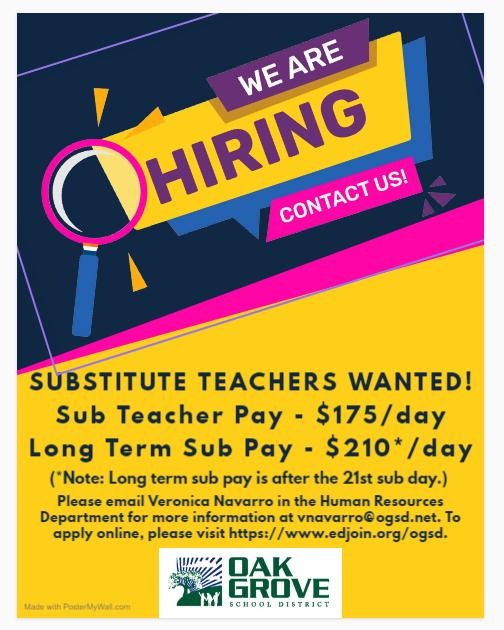 Sub Teacher Wanted Flyer