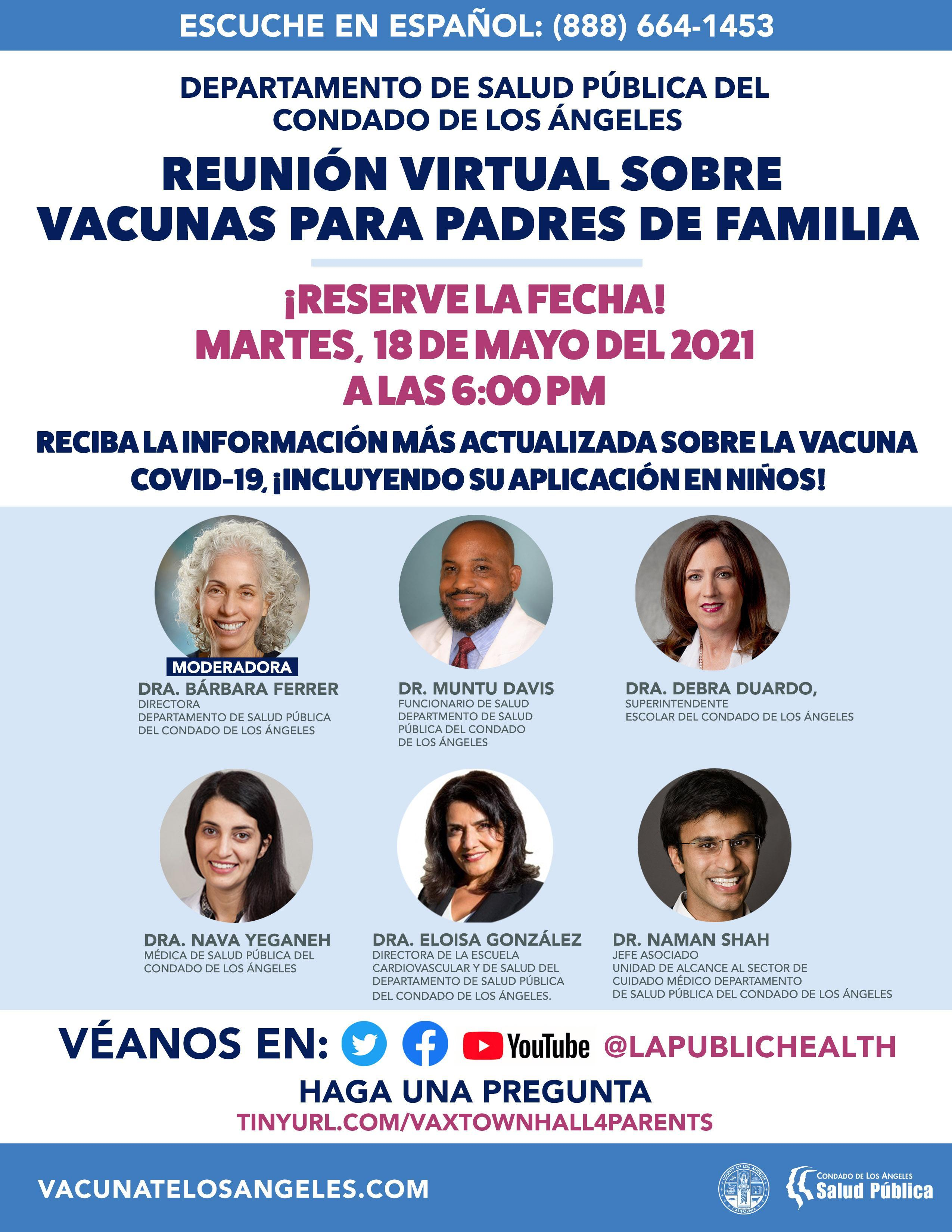 LACDPH Vaccine Town Hall Flyer (Spanish)