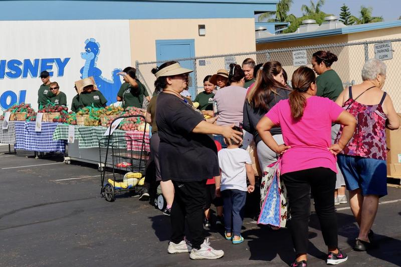 Volunteers Distribute produce