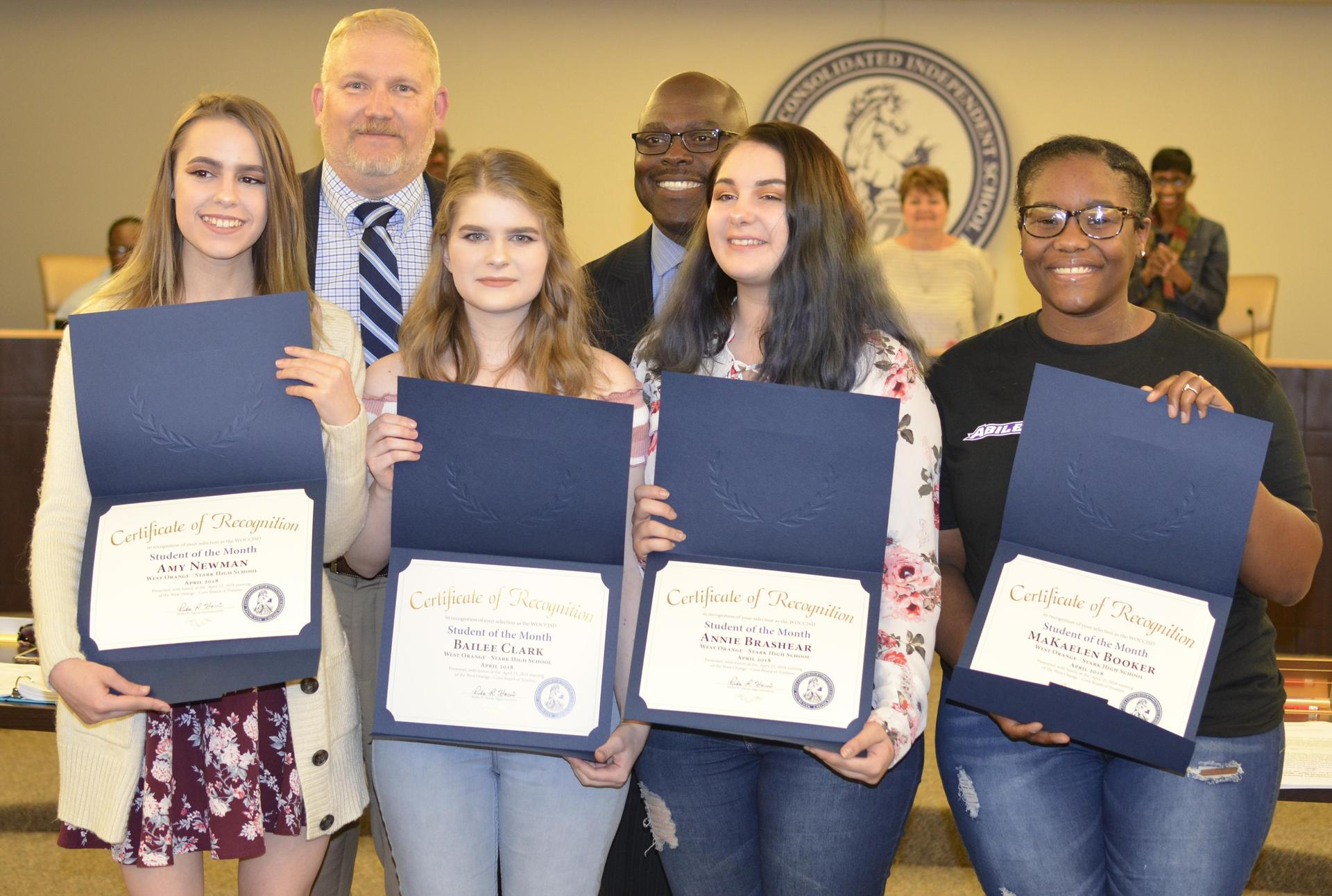 WOS High School Journalism Students accepting Student of the month