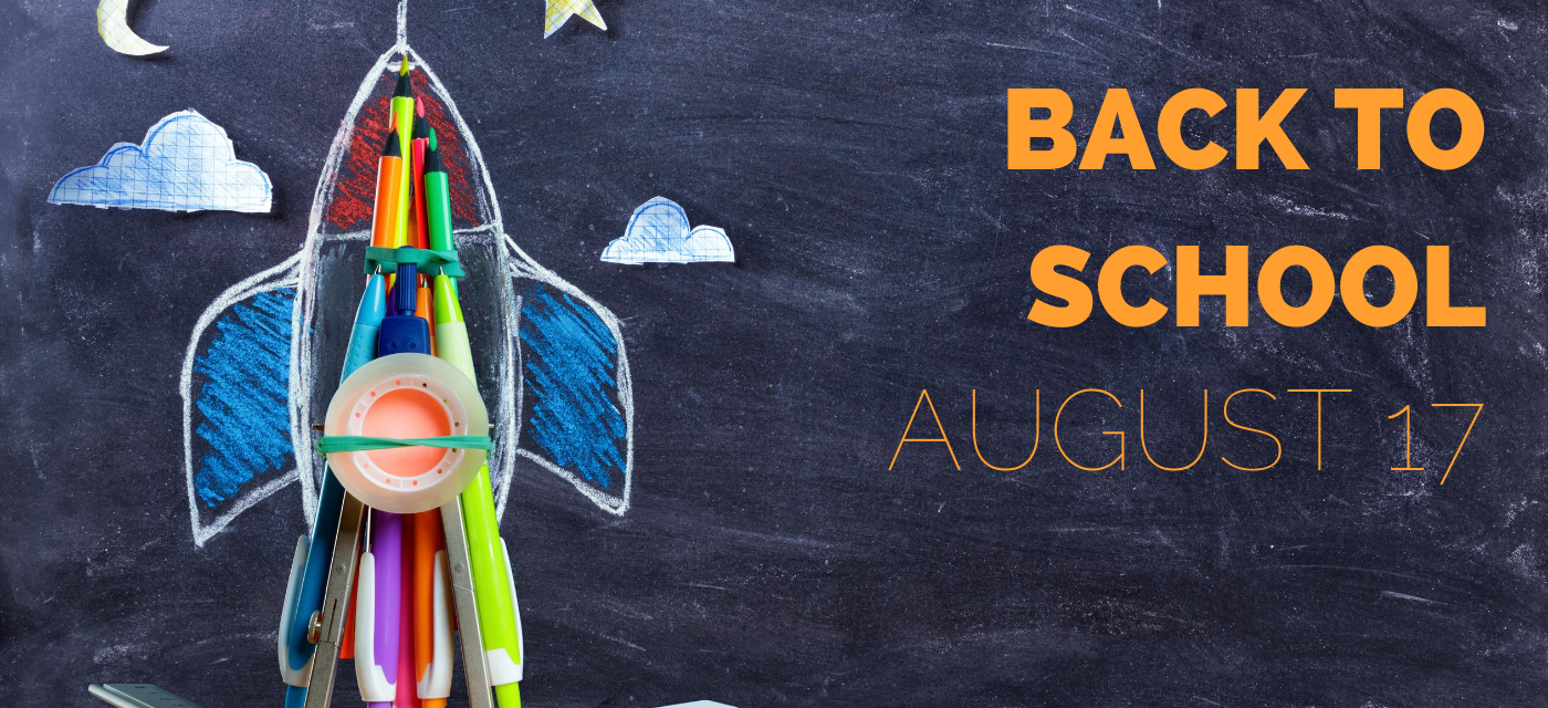 back to school august 17 graphic with rocket drawn with chalk