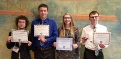 FBLA students displaying their certificates for winning at the State Leadership Conference in Charleston, WV
