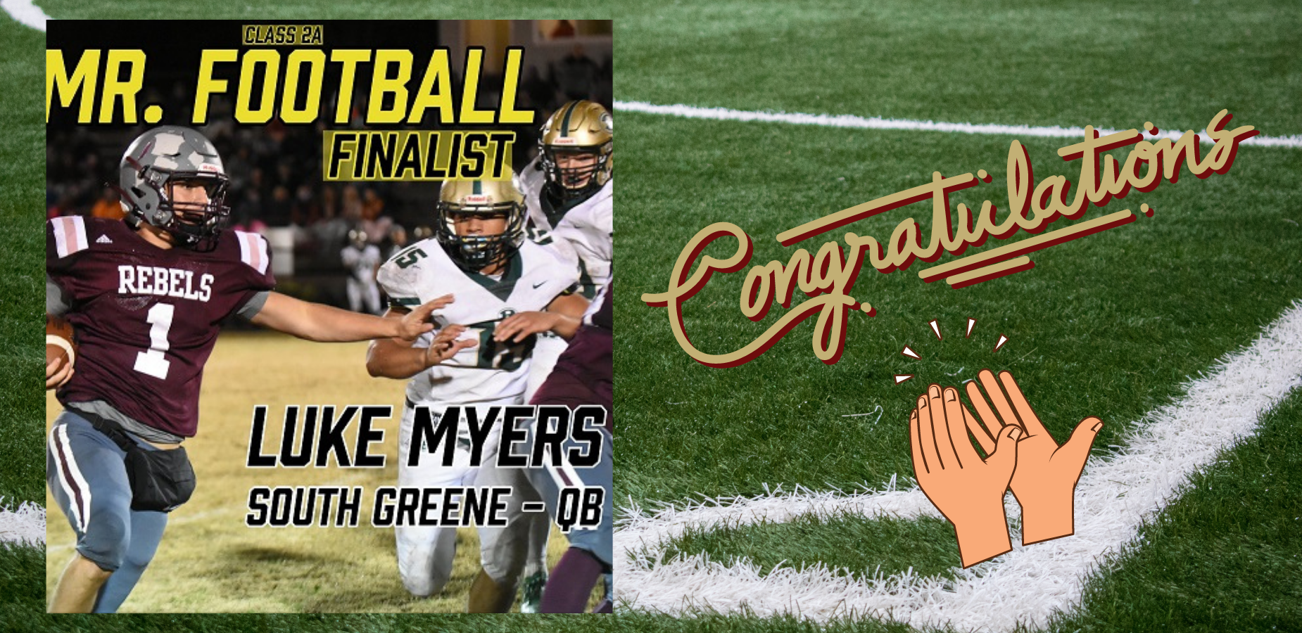 Mr. Football Finalist, Luke Myers of SGHS!