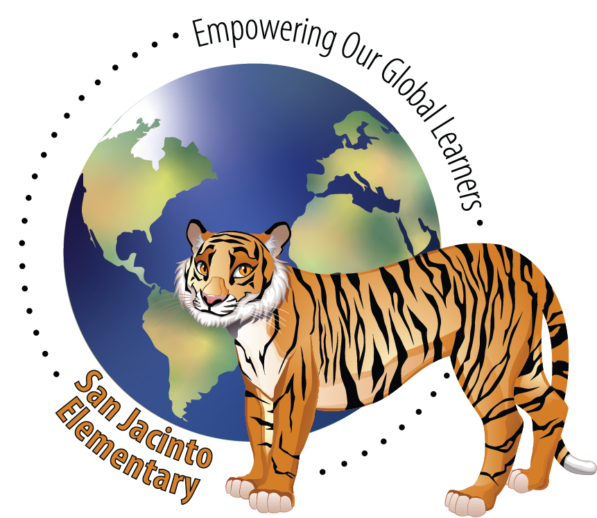 tiger logo with the world in the background, Empowering Our Global Learners San Jacinto Elementary