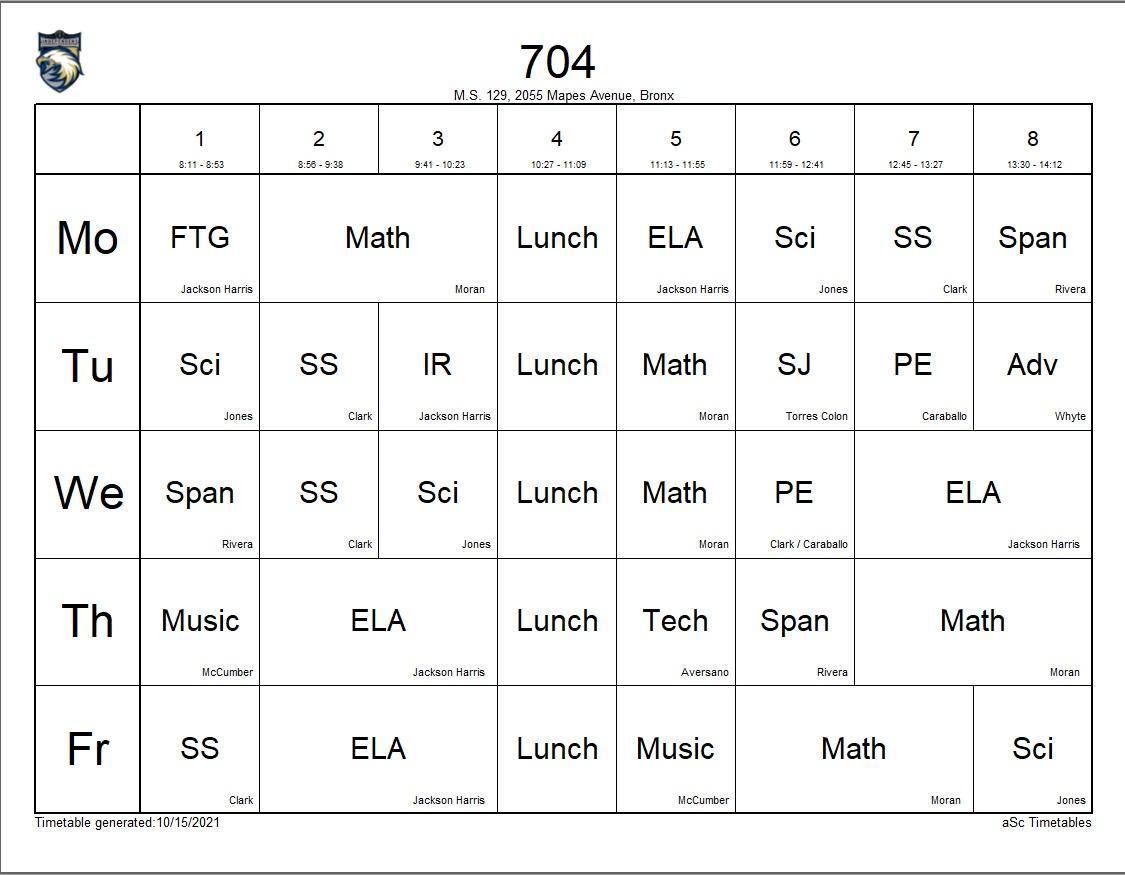 704 class schedule
