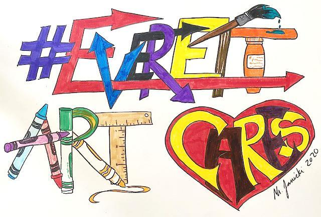 The words 'Everett arts cares' filled in with various shapes, designs, and colors