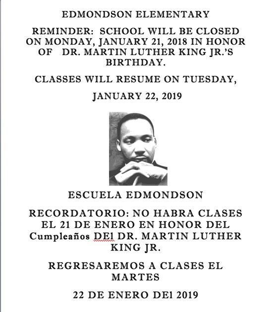 No Classes Monday January 21 / No Clases el Lunes Enero 21 Featured Photo
