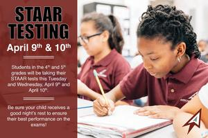 STAAR Testing April 9th and 10th