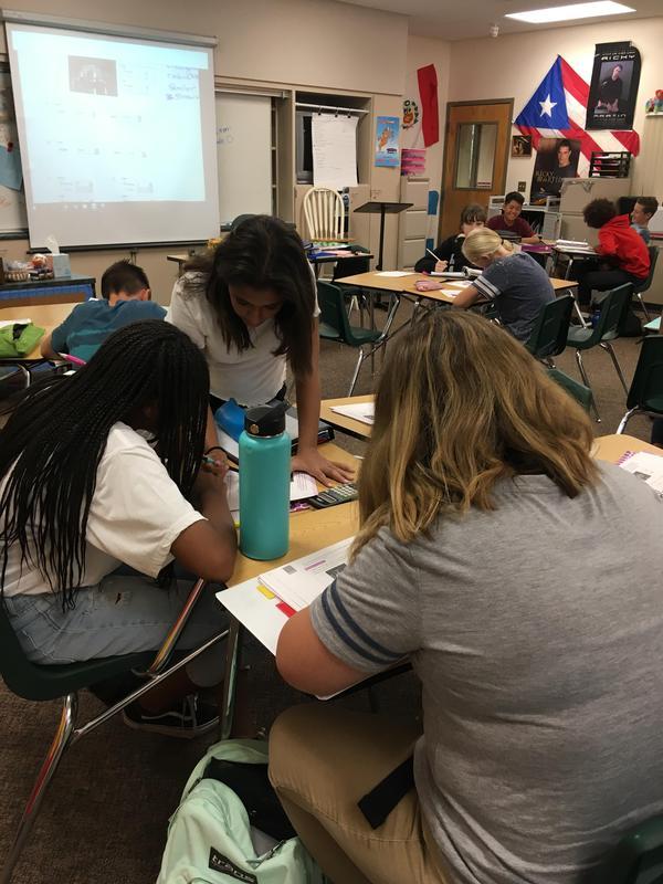 Ms. Grandbois' math student problem solve together!