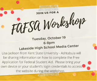 FAFSA Workshop Tuesday, October 19th in the Media Center from 6:00 p.m. - 8:00 p.m. Featured Photo