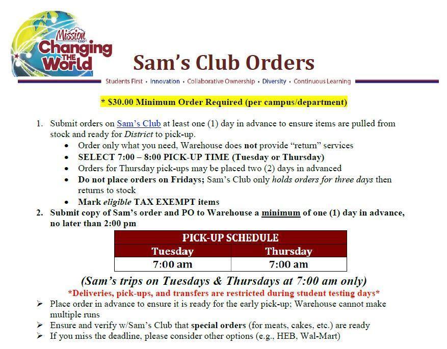 Sam's Club Orders