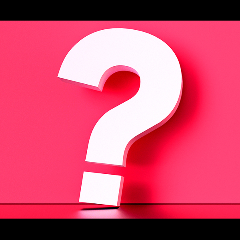 A large question mark against a pink-red background