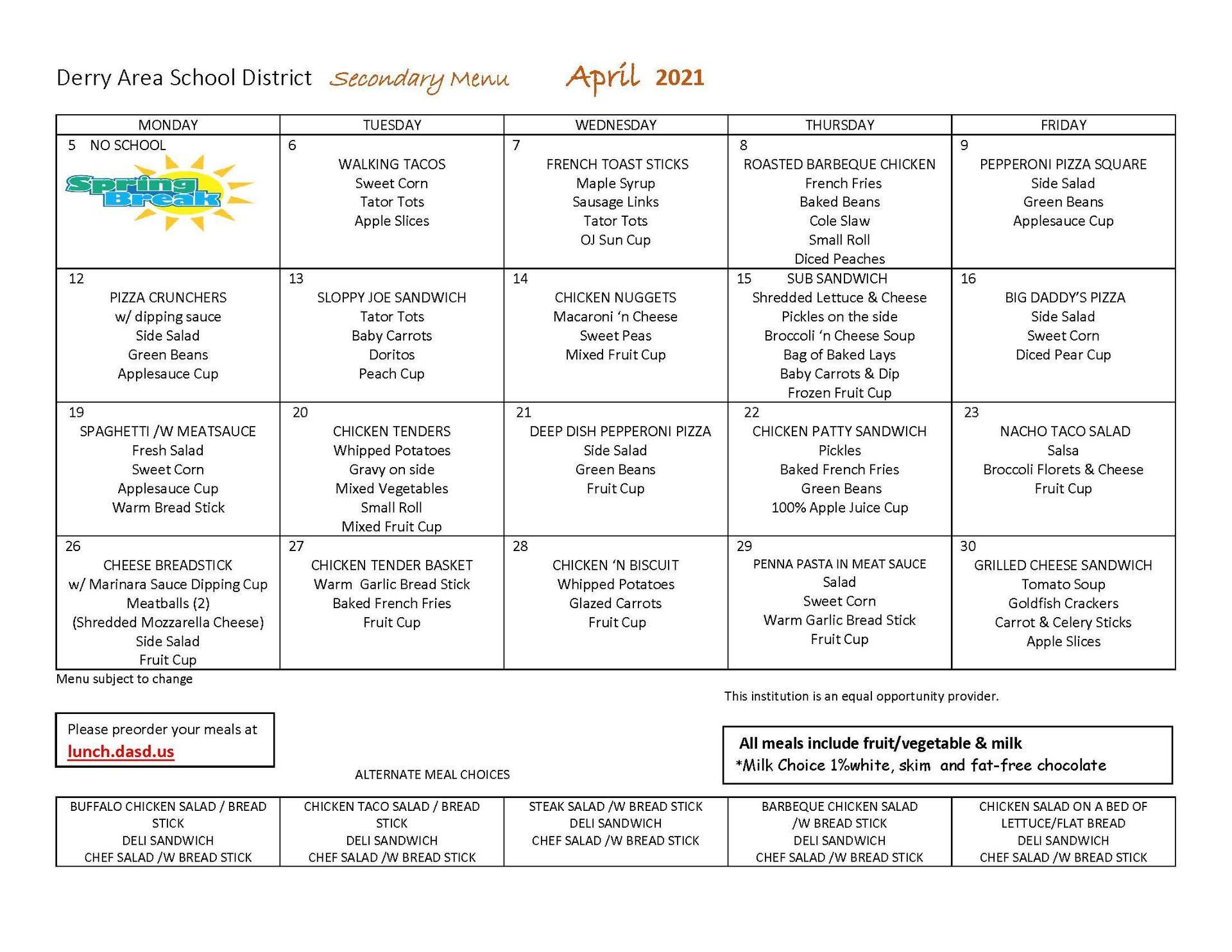 April Secondary Menu