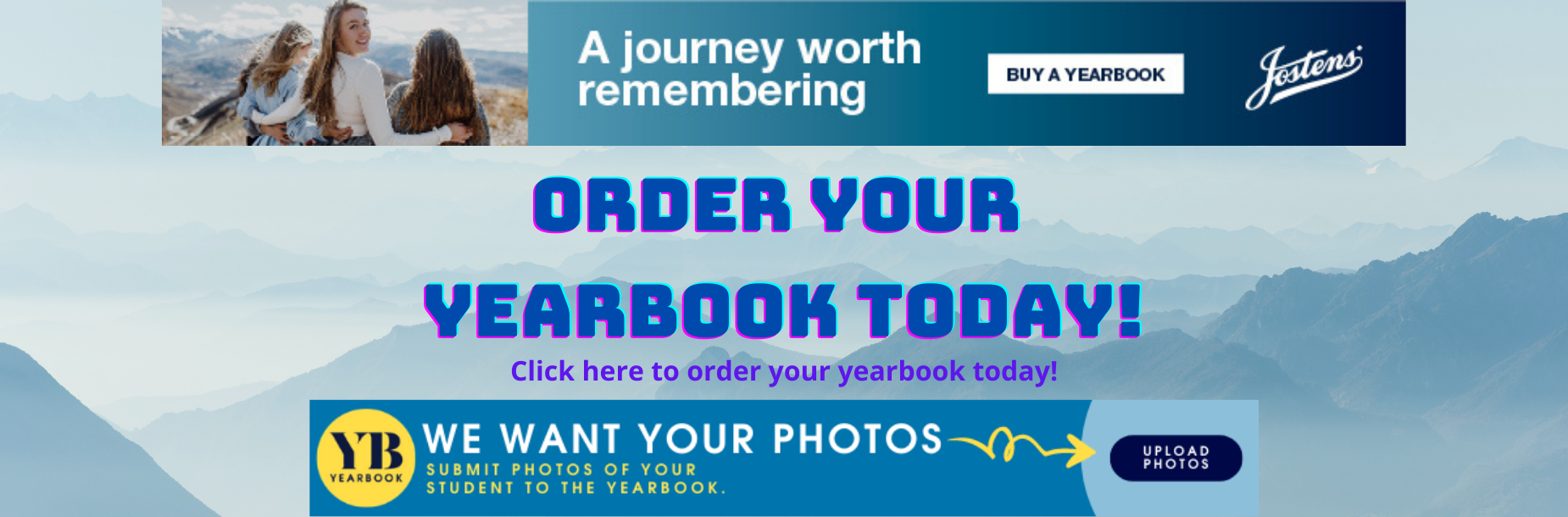 Order a yearbook today banner, click on banner to order