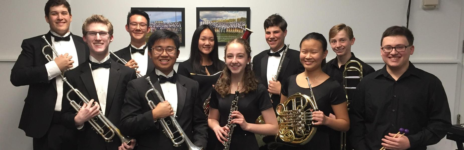 10 Westfield High School student musicians have been selected to perform with a Central Jersey regional band in January.  Pictured here are the students holding their instruments.