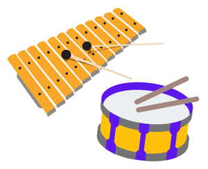 A xylophone and a drum