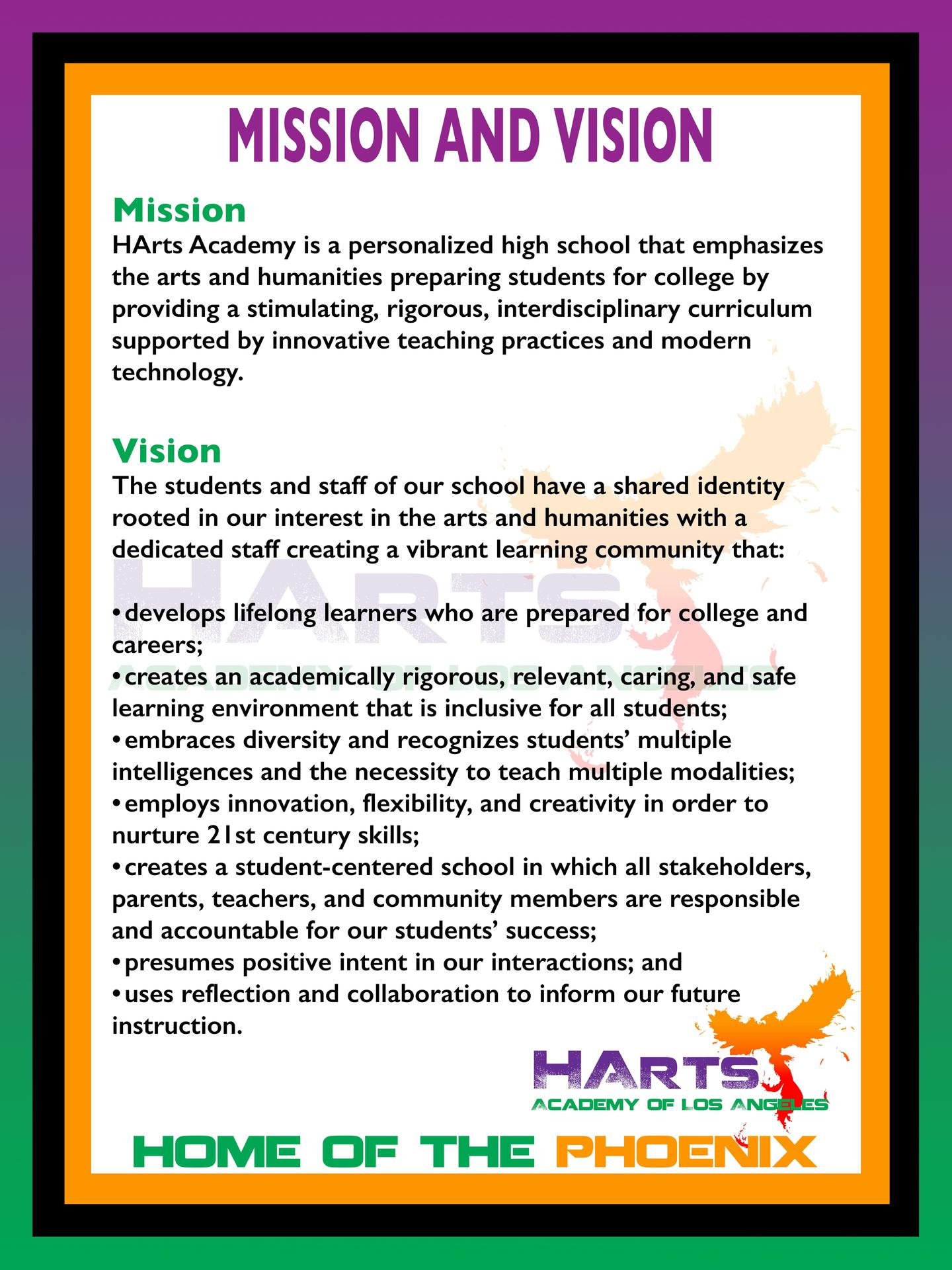 HArts Academy Mission and Vision