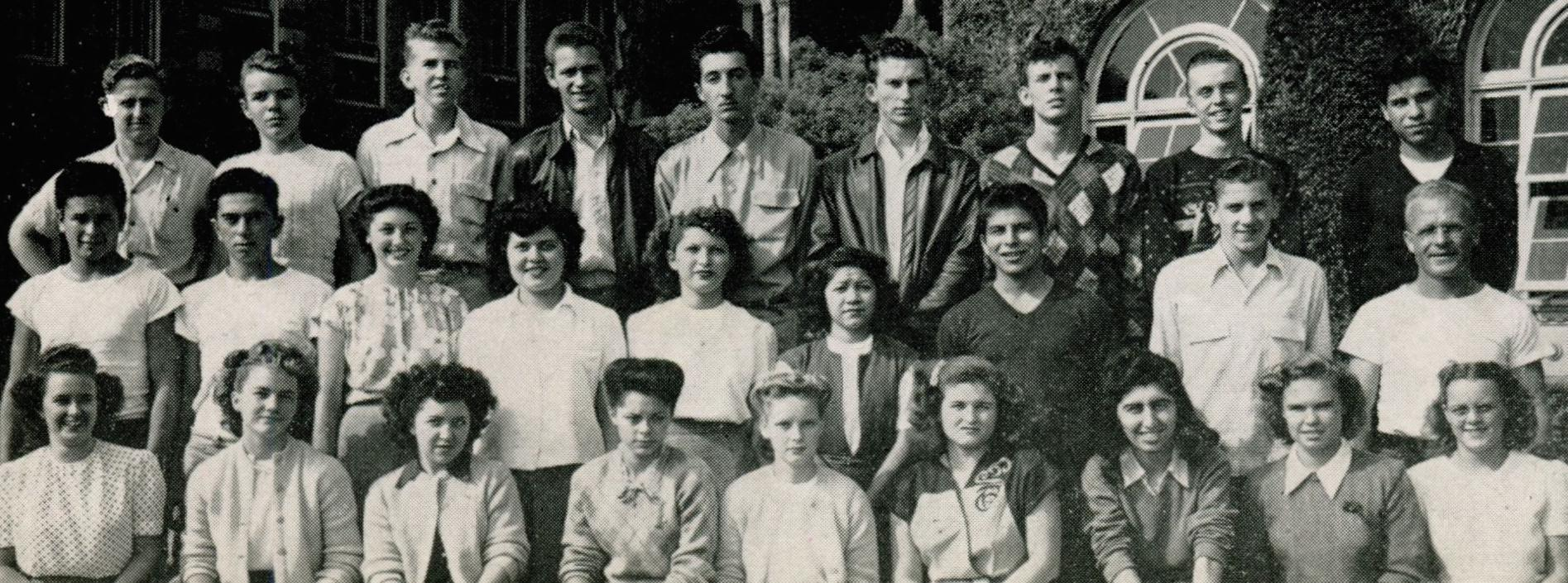 Margarita is in the 2nd row, 4th from the left (11th grade, 1946)