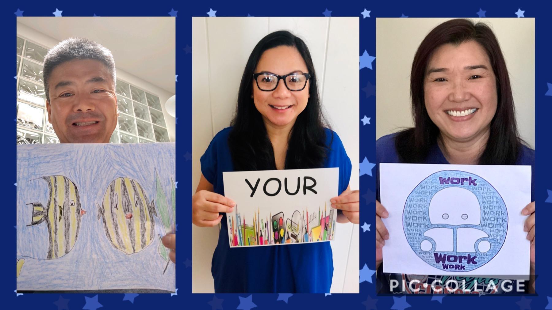 Photo collage of Gr.  teachers holding picture message to 'Do Your Work'