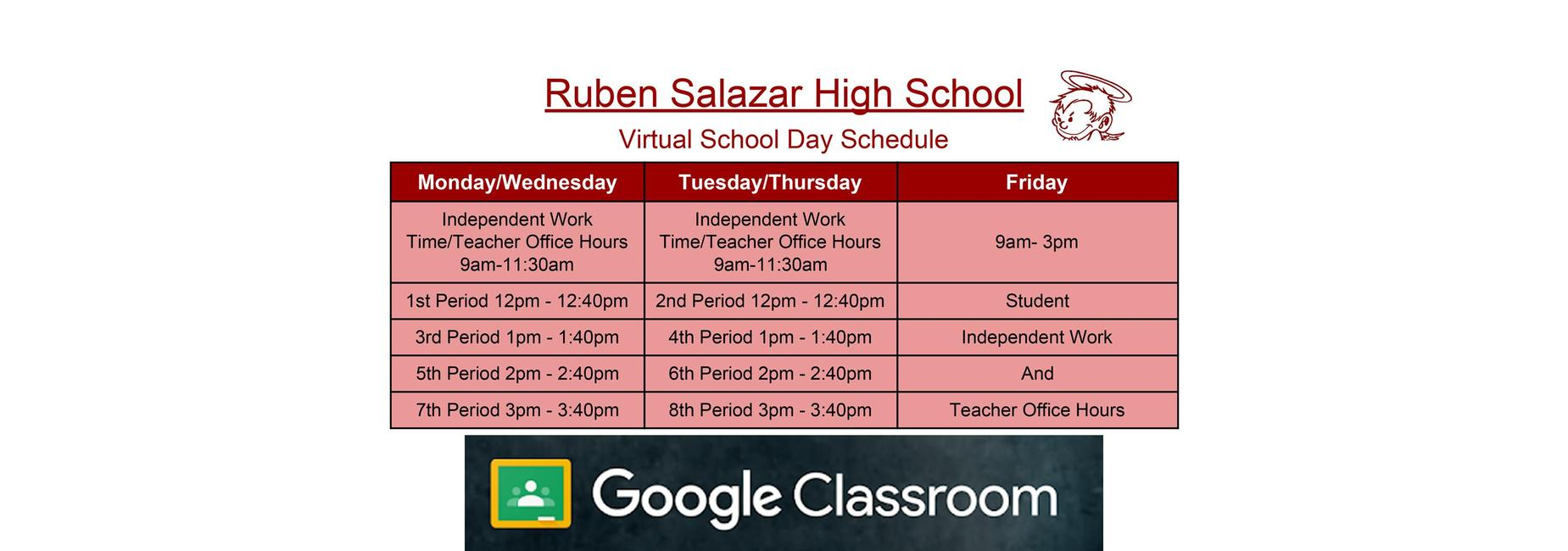 Virtual School Day Schedule