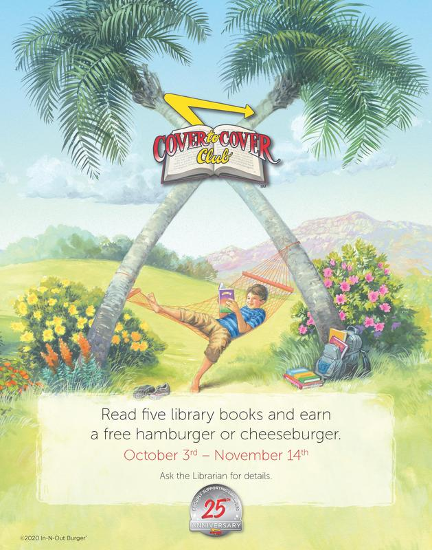 Read five library books and earn a free hamburger or cheeseburger. October 3rd – November 14th