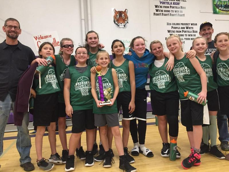 Sixth grade girls basketball team after winning in Portola