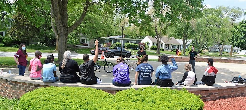 James Hart Daily Living Skills Class bike safety demo
