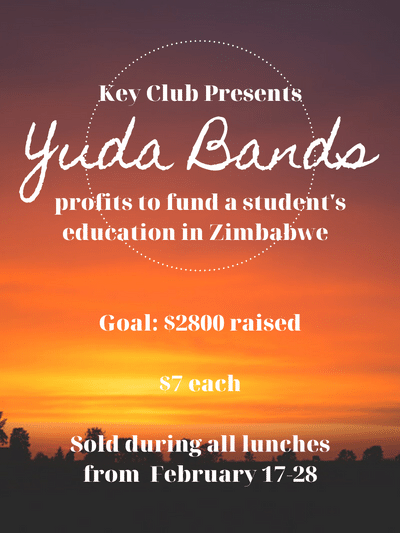 Yuda Bands for sale for 7.00 to fund education of a student in Zimbabwe