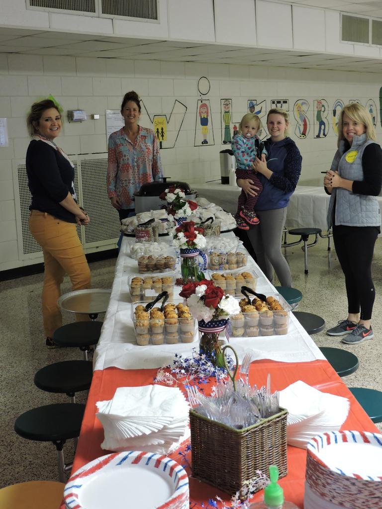 Parent Volunteers preparing refreshments for Veterans