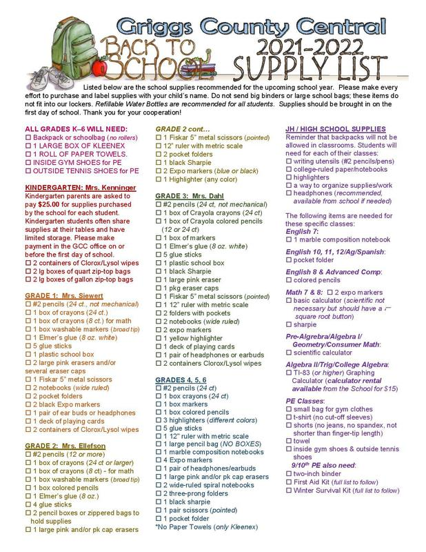 21-22 Back-to-School Supply List (Also now available online!) Featured Photo
