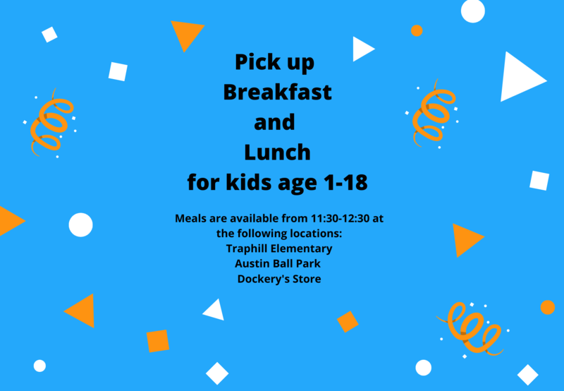 Breakfast and Lunch pickup from 11:30-12:30