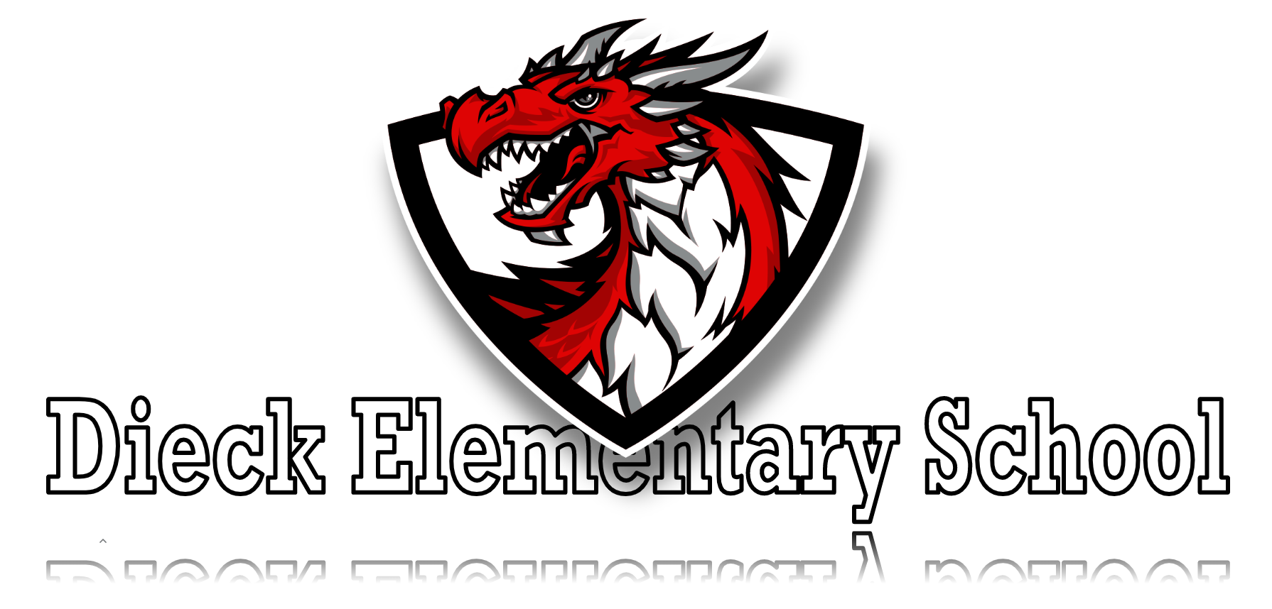 Dragon mascot with school title