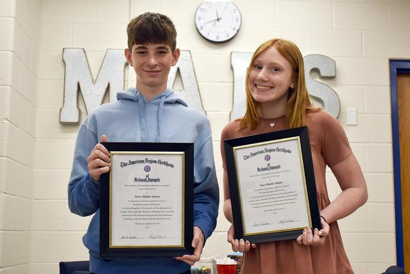 Mars Area Middle School eighth-graders William Wilson and Reagan Connelly were selected to receive The American Legion Award for the 2020-2021 School Year.