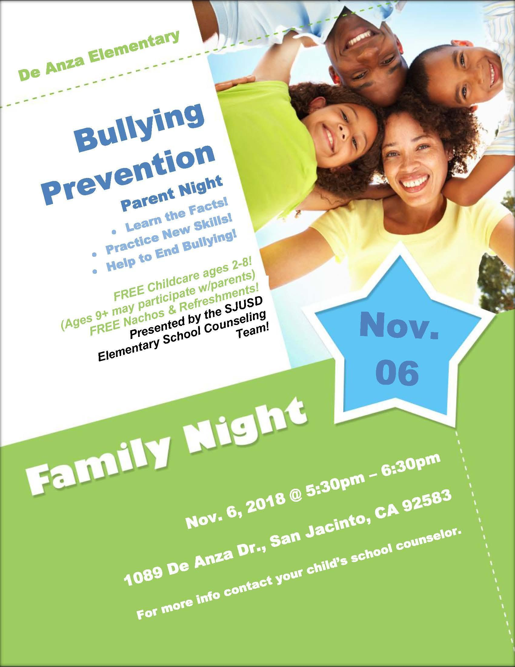 Bullying Prevention Parent Night 11.06.18