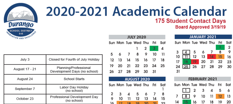 screenshot of academic calendar