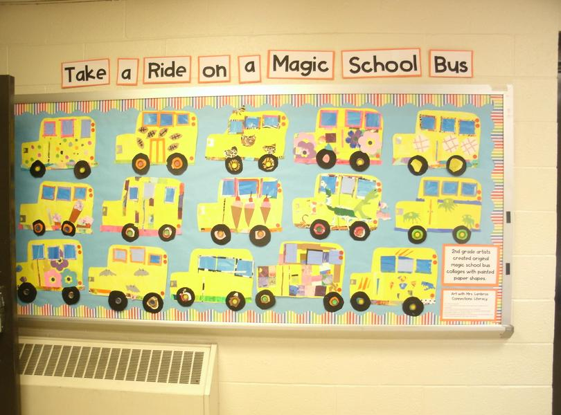 Bulletin board with school bus projects created by second graders.
