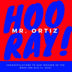 Image stating horray, Mr. Ortiz!