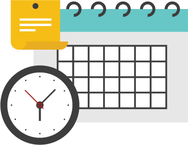 Digital image of a clock, calendar and posted note to represent a schedule