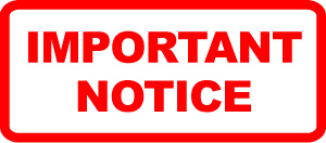 IMPORTANT NOTICE in red ink surrounded by white with a red border